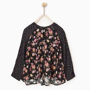 Zara girls black printed blouse